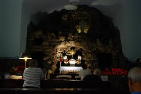The grotto inside Our Lady of Lourdes. Credit: Flikr