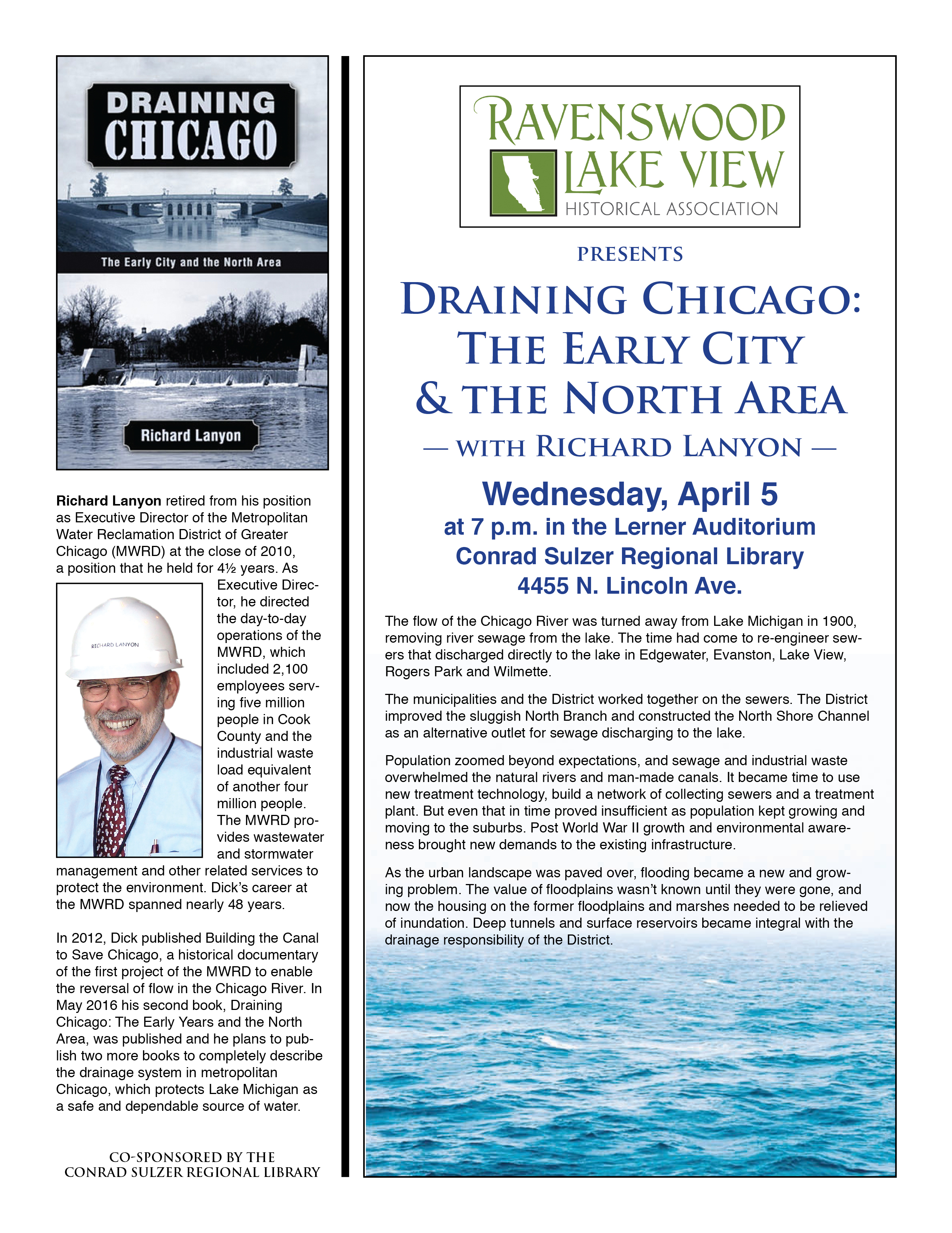 Draining Chicago, Wednesday, April 5, 7:00 p.m., Conrad Sulzer Regional Library, 4455 N. Lincoln Ave.