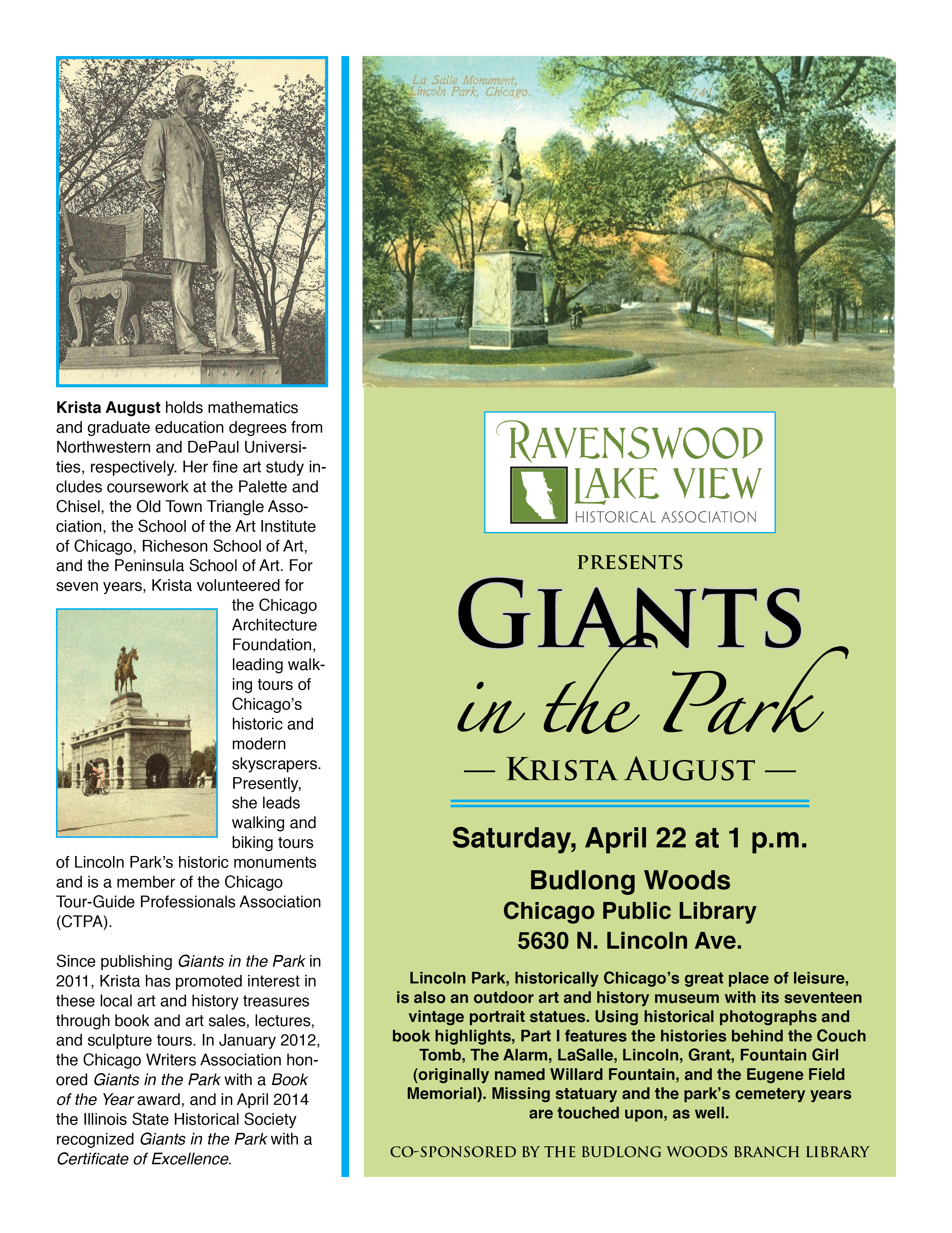 Giants in the Park: The Portrait Statues of Lincoln Park, Saturday, April 22, 1:00 p.m., Budlong Woods Chicago Public Library, 5630 N. Lincoln Ave