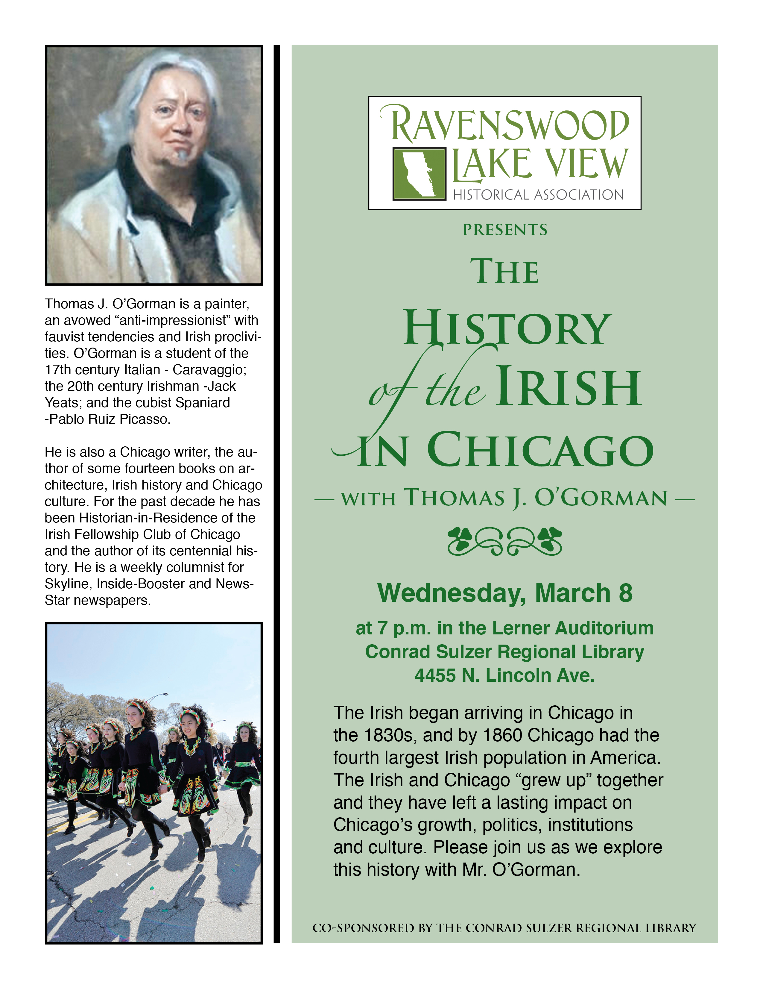The History of the Irish in Chicago, Wednesday, March 8, 7:00 pm, Conrad Sulzer Regional Library 4455 N. Lincoln Ave