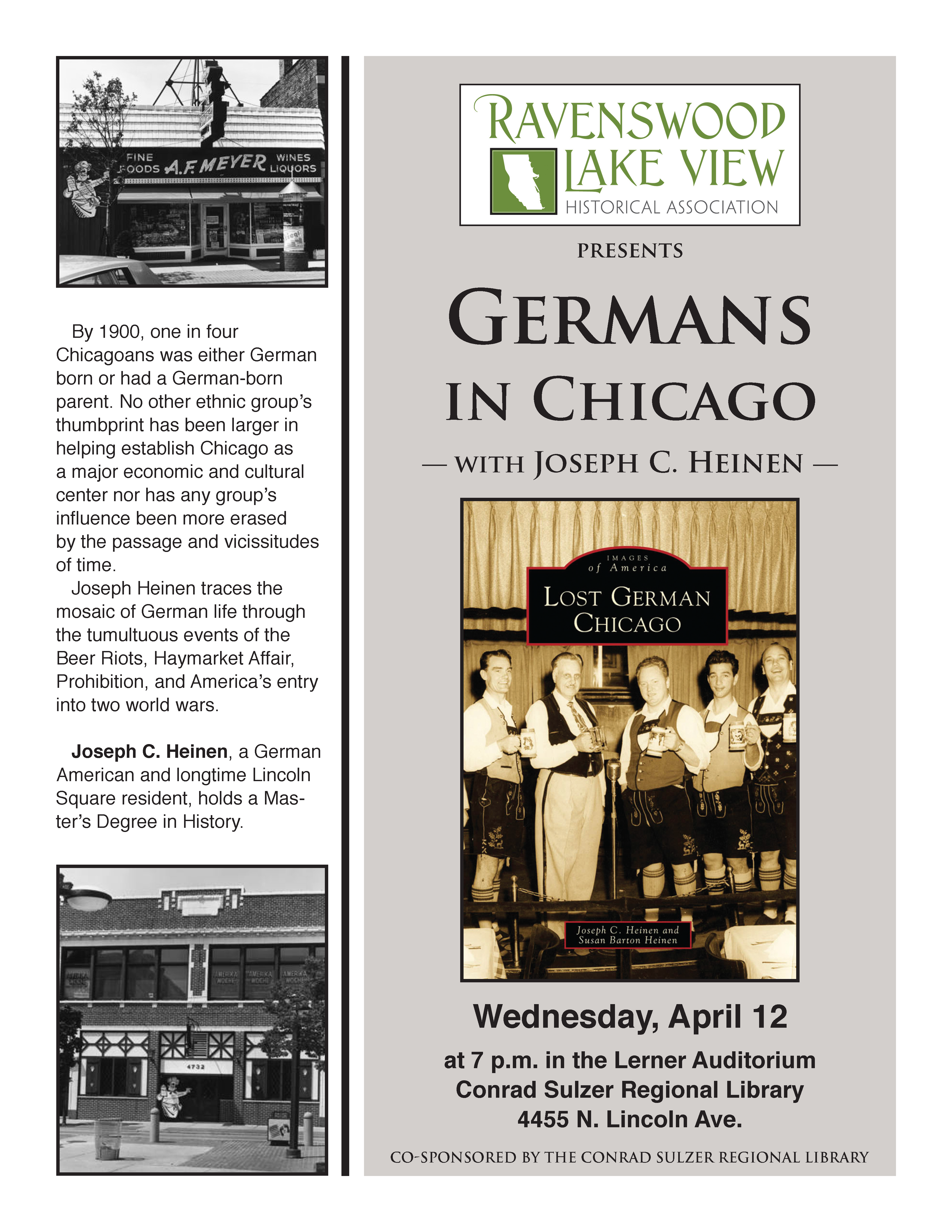 Germans in Chicago, 7:00 p.m, Wednesday, April 12, 2016, Contad Sulzer Regional Library, 455 N. Lincoln Ave.