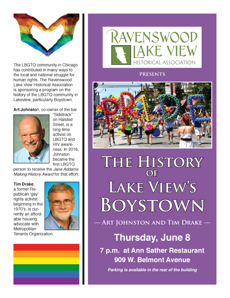 The History of Lake View's Boystown - Thursday, June 8, 7 P.M. - Ann Sather Restaurant 909 W. Belmont Avenue