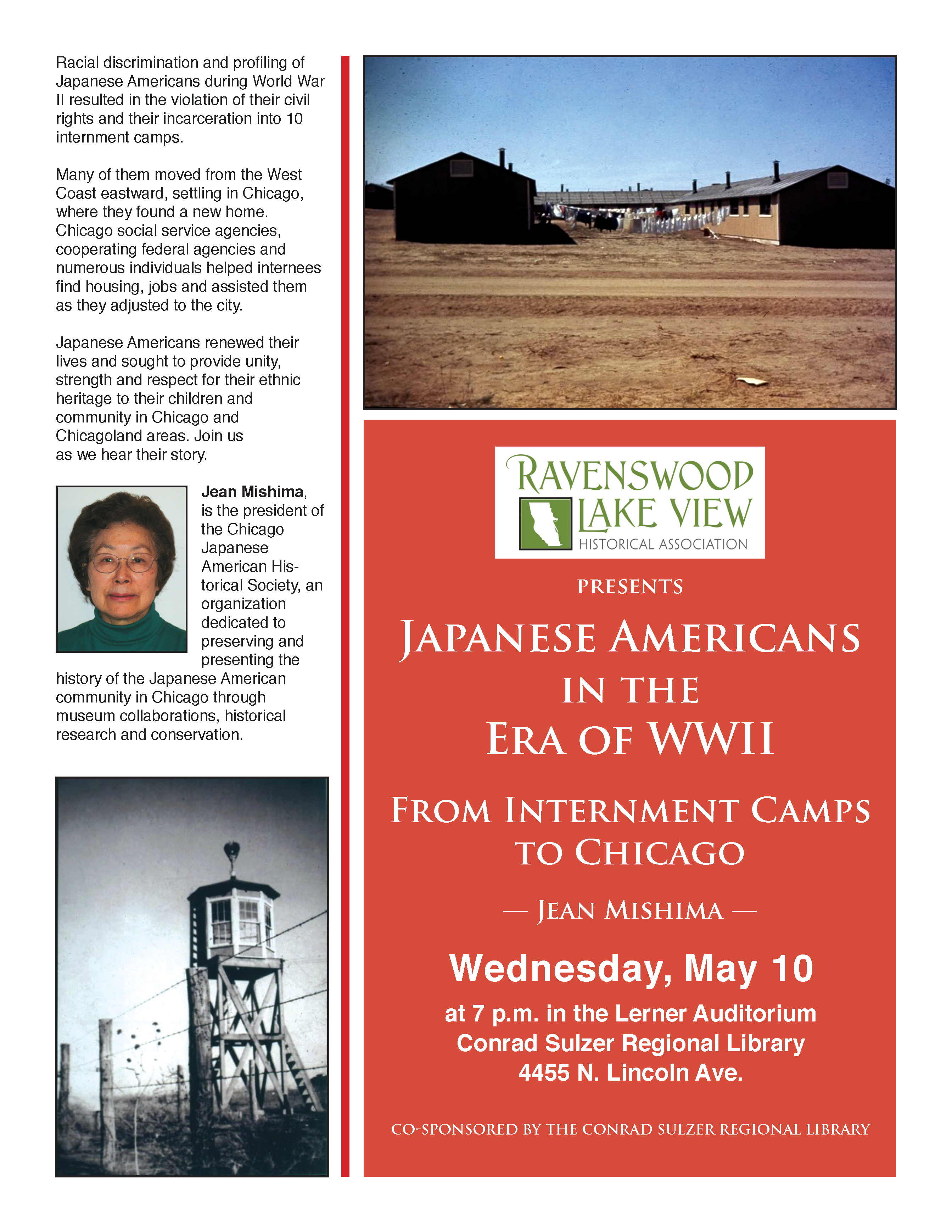 Japanese Americans in the Era of WWII, Wednesday, May 10, 7 P.M., Conrad Sulzer Regional Library, 4455 N. Lincoln Ave.