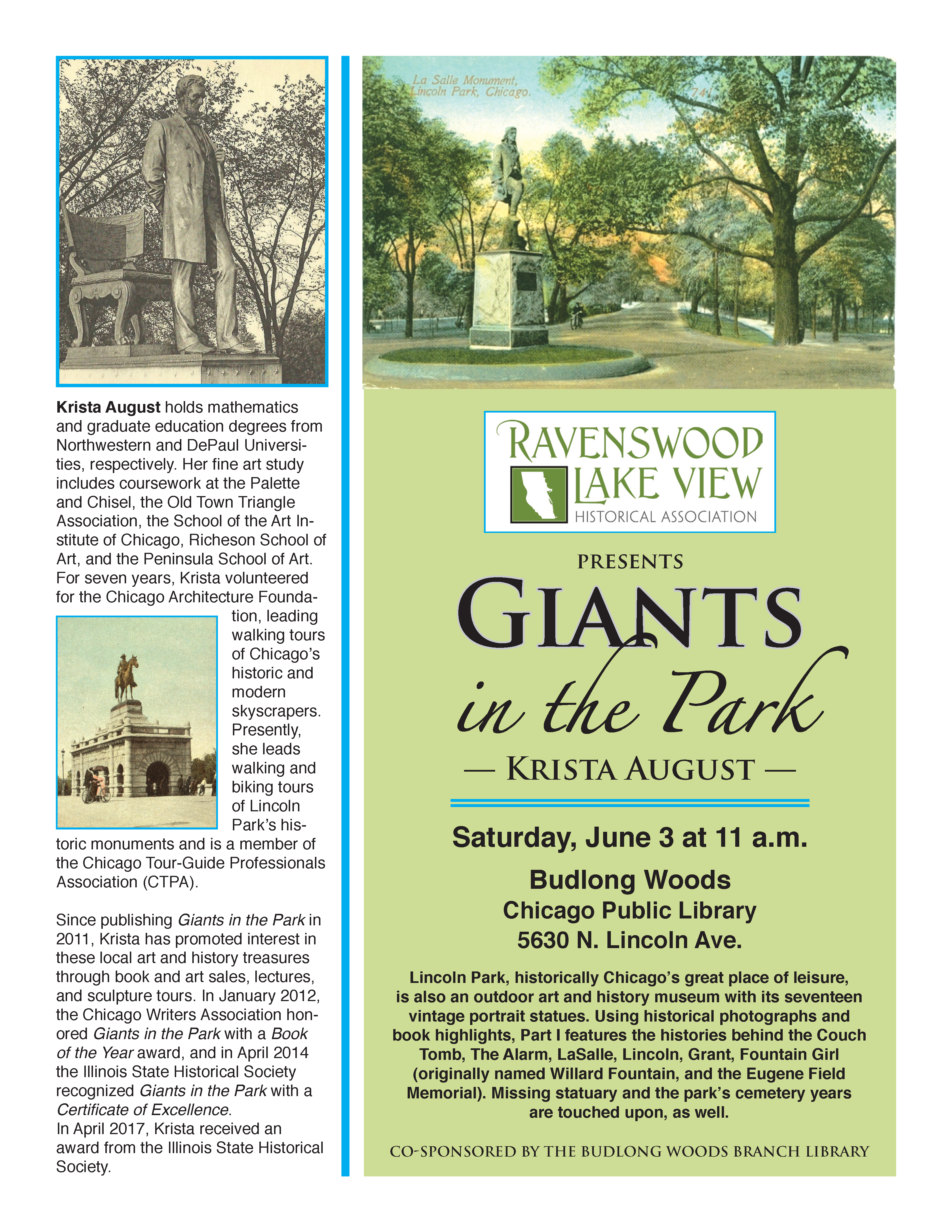 Giants in the Park - June 3 11 am - 5630 N. Lincoln Ave.
