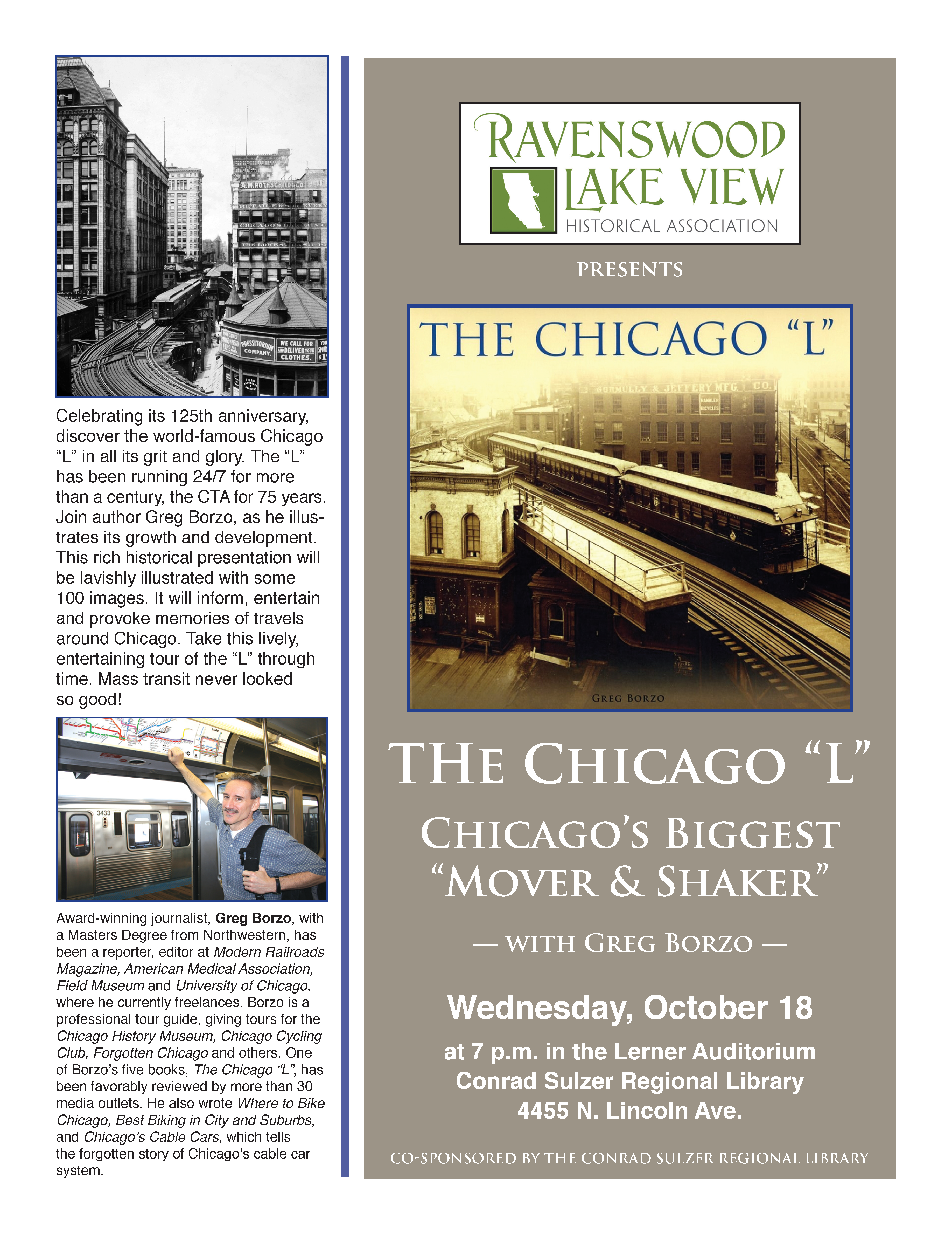 """The Chicago """"L"""" - Wednesday, October 18 at 7 p.m. - Conrad Sulzer Regional Library - 4455 N. Lincoln Ave."""