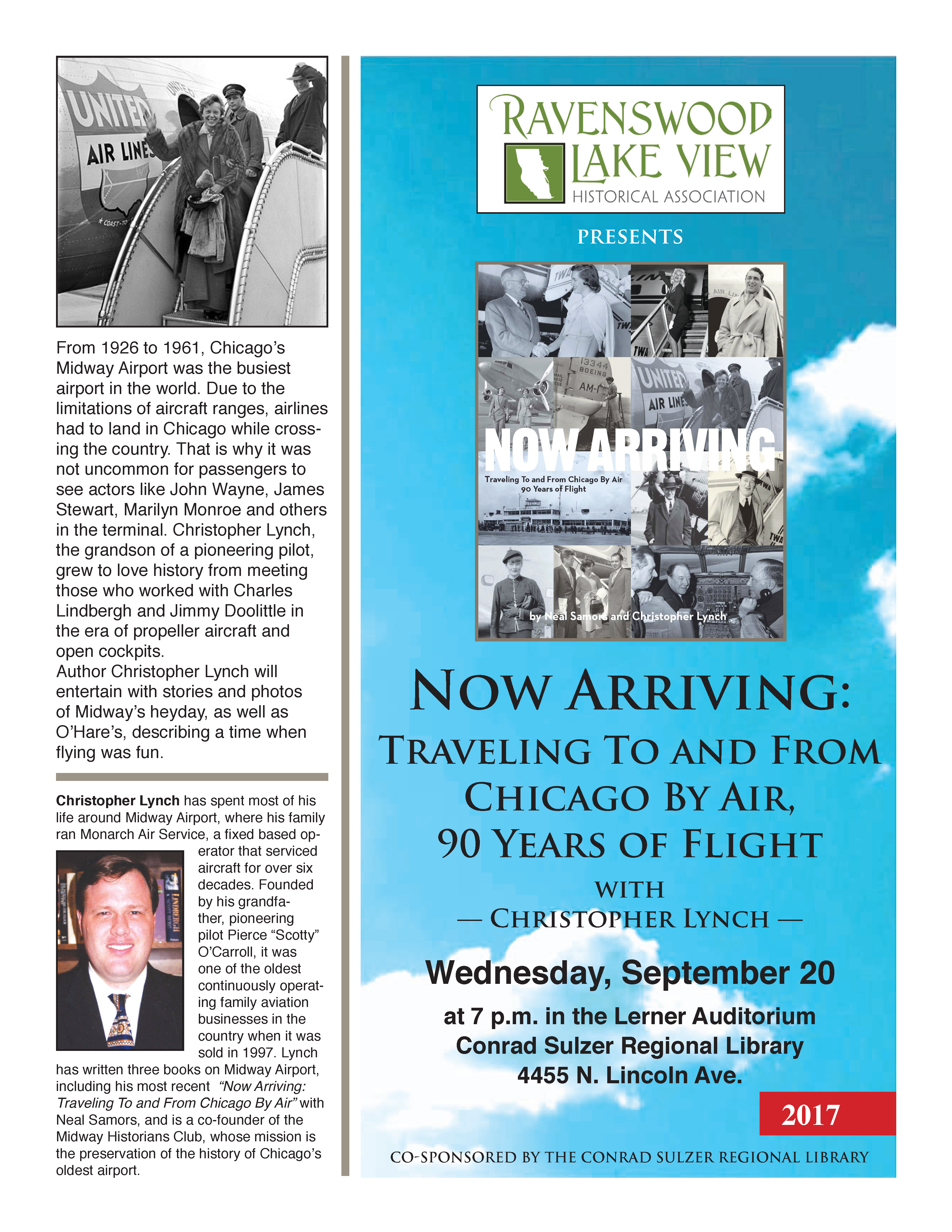 Now Arriving: Traveling to and from Chicago by Air, 90 Years of Flight - September 20, 7pm - Conrad Sulzer Regional Library 4455 N. Lincoln Ave