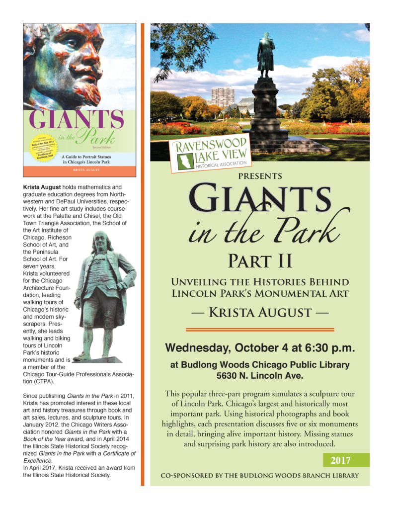 Giants in the Park Part II: Unveiling the Histories Behind Lincoln Park's Monumental Art - October 4, 6:30 pm - Budlong Woods Chicago Public Library, 5630 N. Lincoln Ave