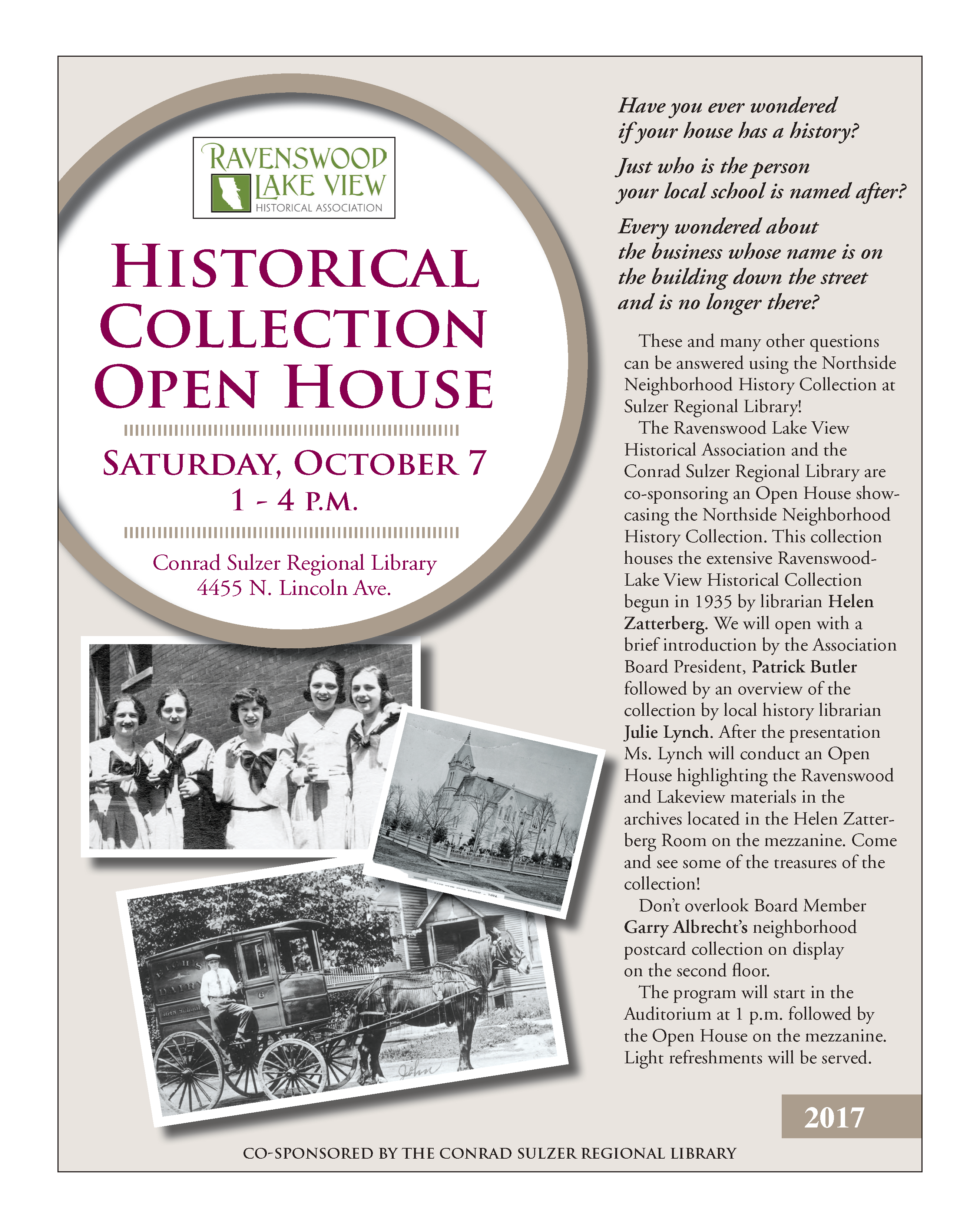 Historical Collection Open House - October 7, 1-4 pm - Conrad Sulzer Regional Library, 4455 N Lincoln Ave