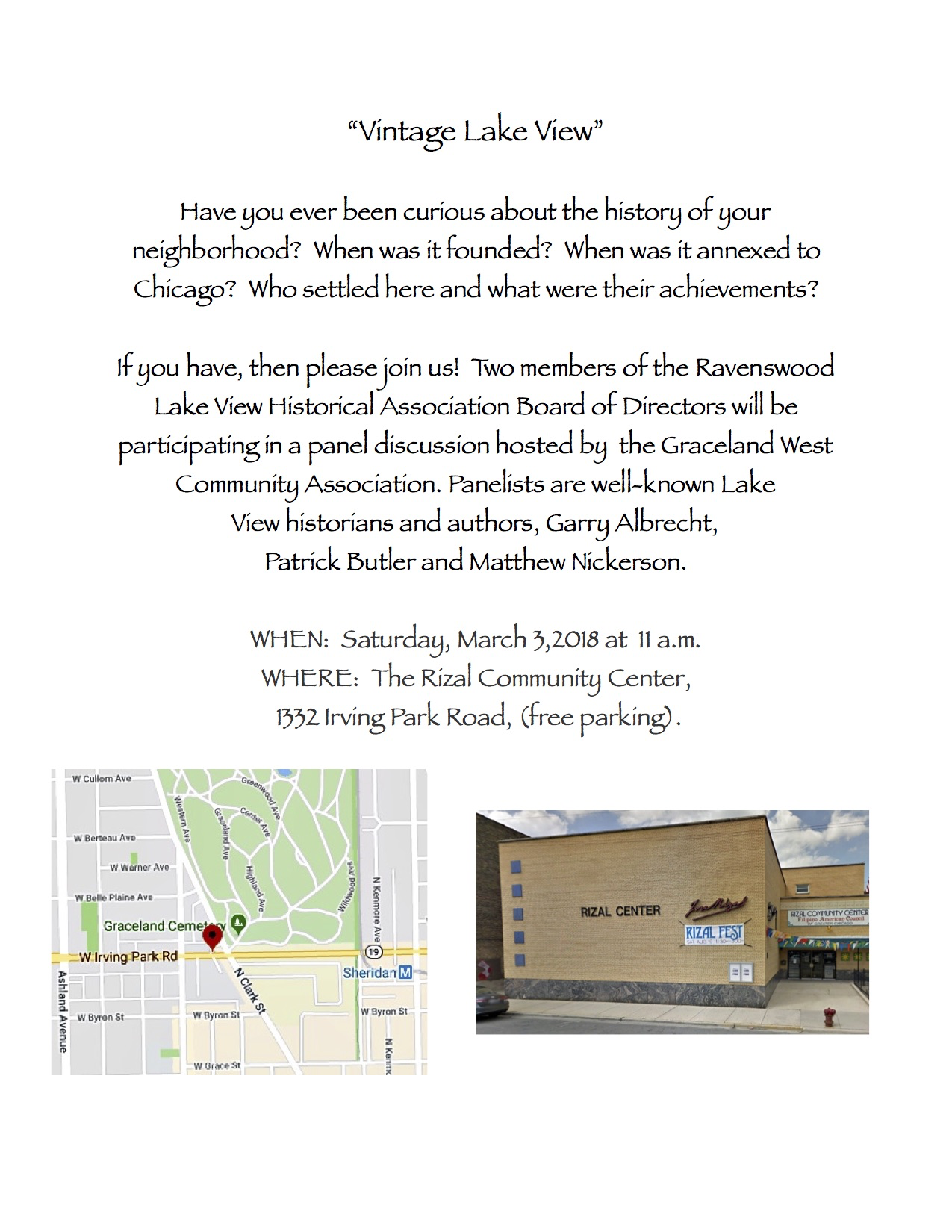 Vintage Lake View History Panel Discussion - Mar 3, 11am - Rizal Community Center, 1332 Irving Park Road (free parking available)