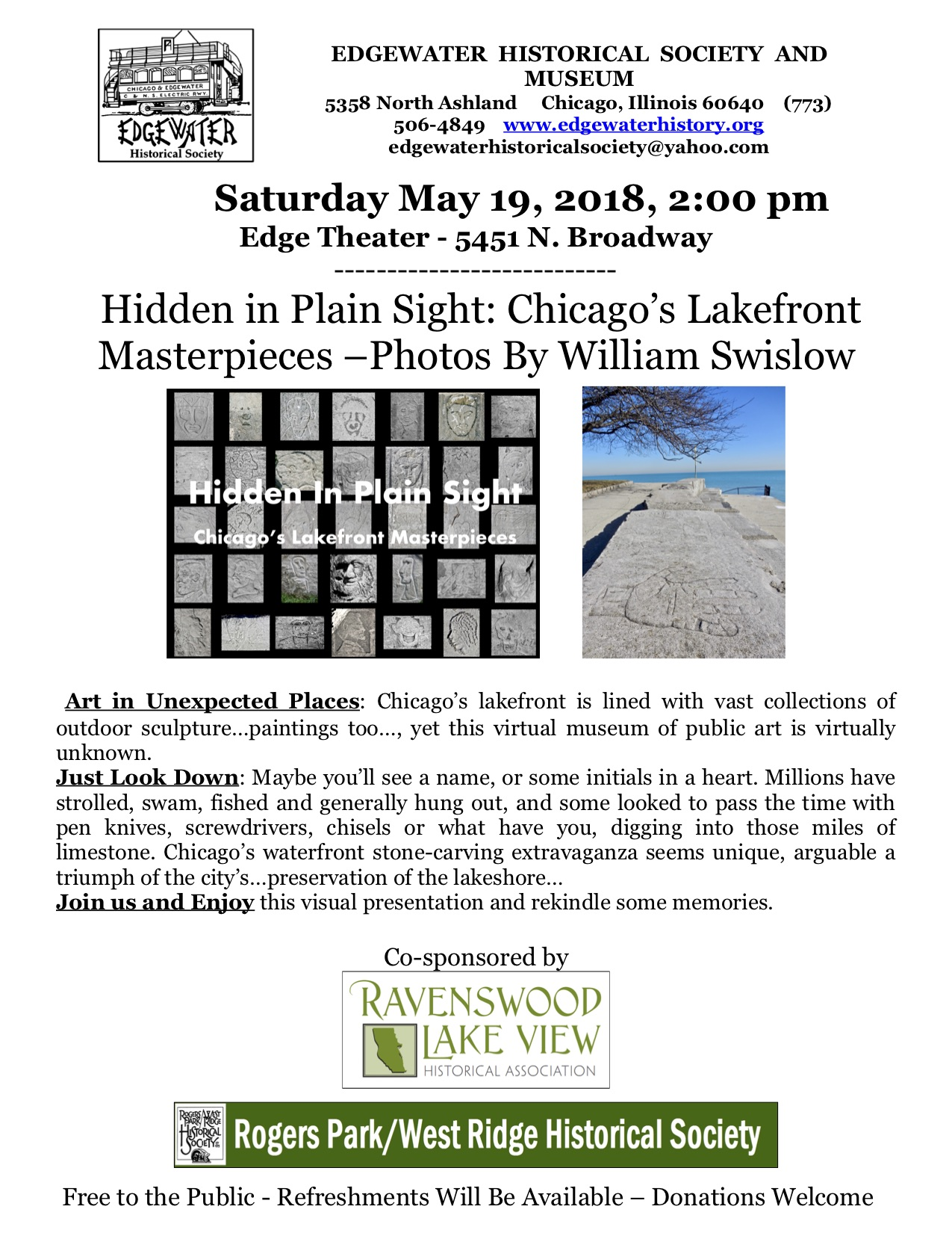Hidden in Plain Sight: Chicago's Lakefront Masterpieces - Saturday May 19, 2pm - Edge Theater, 5451 N. Broadway