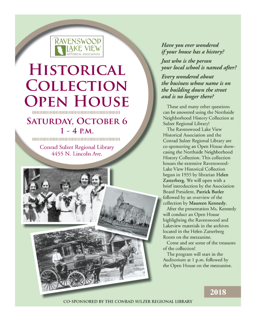Historical Collection Open House - October 6, 1-4pm - Conrad Sulzer Regional Library, 4455 N. Lincoln Ave.